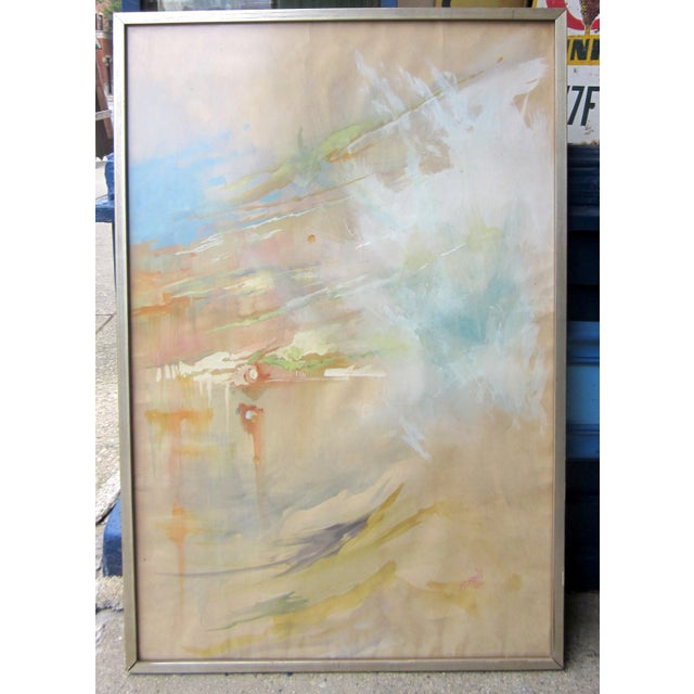 Vintage Mid-Century Abstract Soft Pastel on Paper Signed & Framed Painting For Sale - Image 10 of 10
