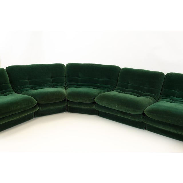 Mid-Century Modern Vladimir Kagen for Preview Hunter Green Velvet Sectional Sofa For Sale In Chicago - Image 6 of 12