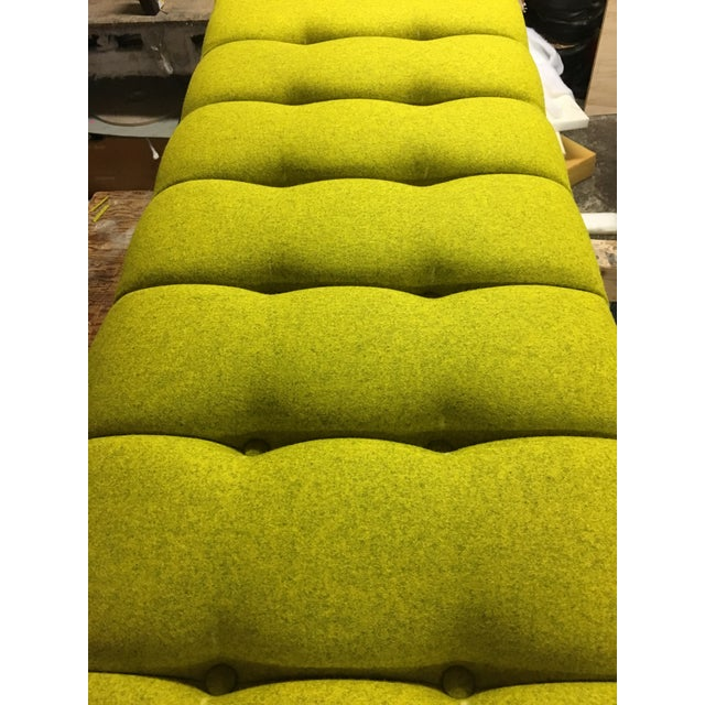 Yellow Mid-Century Modern Bright Yellow Tufted Bench on Brass Base For Sale - Image 8 of 11