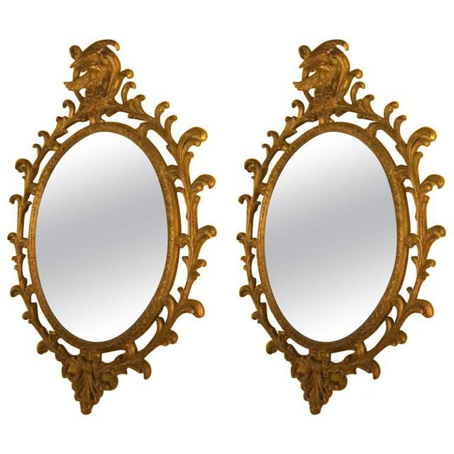 1950s Pair of Carved Italian Gilt Decorated Wall Console Mirrors For Sale - Image 5 of 5