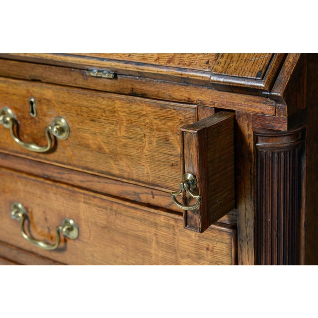Antique Mid 19th Century Oak Slant Front Desk For Sale - Image 4 of 10