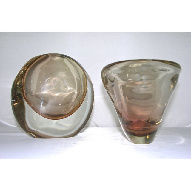 Contemporary 1970s Formia Italian Minimalism Smoked Pink Murano Glass Bowl and Vase - Set of 2 For Sale - Image 3 of 11