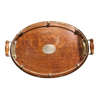 An Art Deco Oak Tray, C. 1930 For Sale