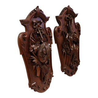 19th Century French Carved Walnut Black Forest Wall Trophies - a Pair For Sale