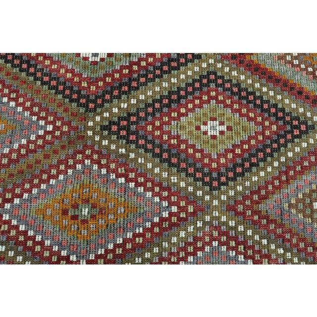 "Vintage Turkish Kilim Embroidered Rug-5'10'x11'3"" For Sale - Image 11 of 13"