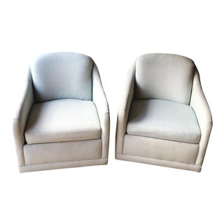 Classic Vintage Selig Aqua Barrel Swivel Chairs - a Pair For Sale