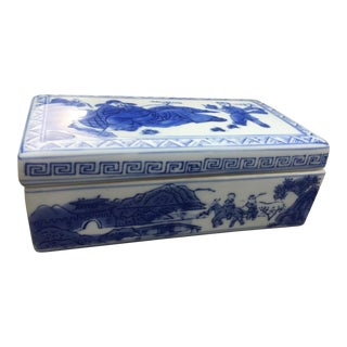 Vintage Blue and White Chinoiserie Box