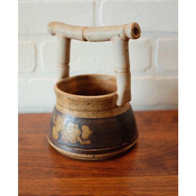 Ceramic Vintage Handmade Floral Studio Pottery Vessel For Sale - Image 7 of 7