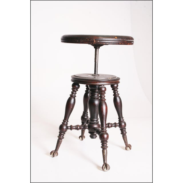 Antique Victorian Wood Adjustable Swivel Piano Stool - Image 11 of 11