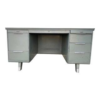 Vintage General Fireproofing Metal Tanker Desk For Sale