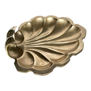 Vintage Brass Shell Footed Tray For Sale