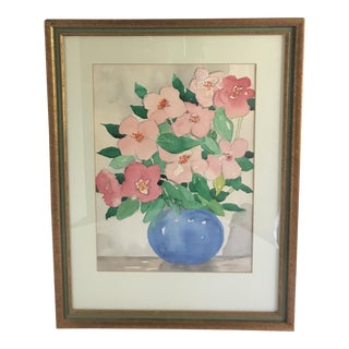 1975 Original Floral Watercolor Painting For Sale