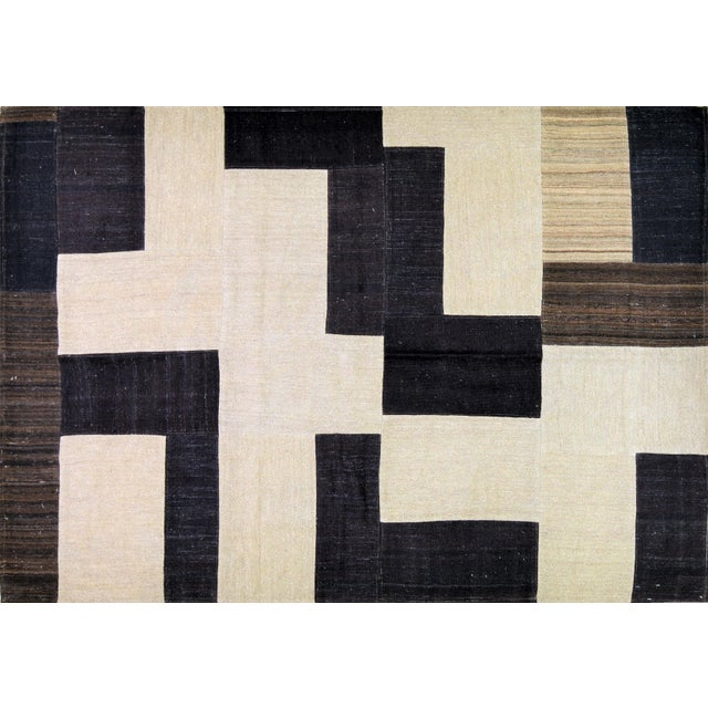 "1980s Vintage Afghan Hand Made Organic Wool Natural Color Modern Kilim,5'6""x7'11"" For Sale - Image 5 of 5"