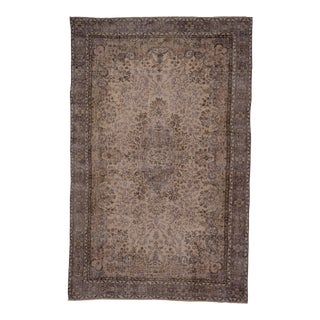 Vintage Distressed Turkish Floral Rug in Neutral Colors- 6'7'' X 10'4'' For Sale
