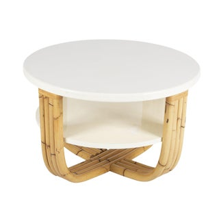 Bielecky Brothers Rattan & Cream Lacquer Cocktail Table For Sale