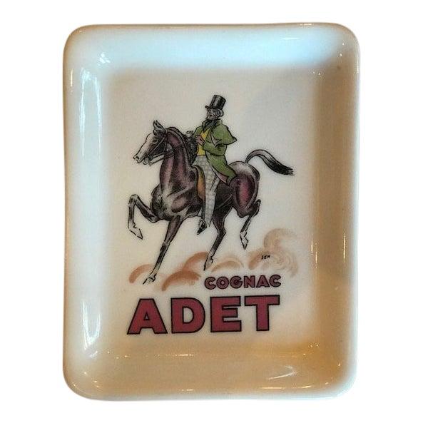 """Limoges France """"Cognac Adet"""" Porcelain Ashtray For Sale"""