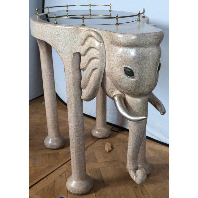 Hollywood Regency Elephant Rolling Bar Cart For Sale - Image 3 of 12