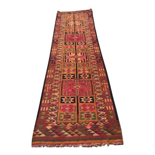 Vintage Turkish Kilim Runner - 2′11″ × 12′4″ For Sale