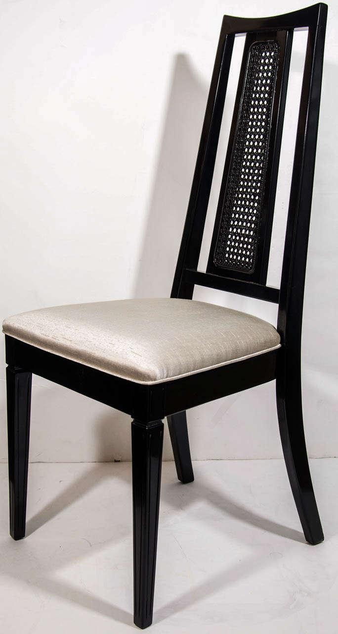 John Stuart Set/ 4 Mid Century Modern Cane Back Dining Chairs Attributed To  John