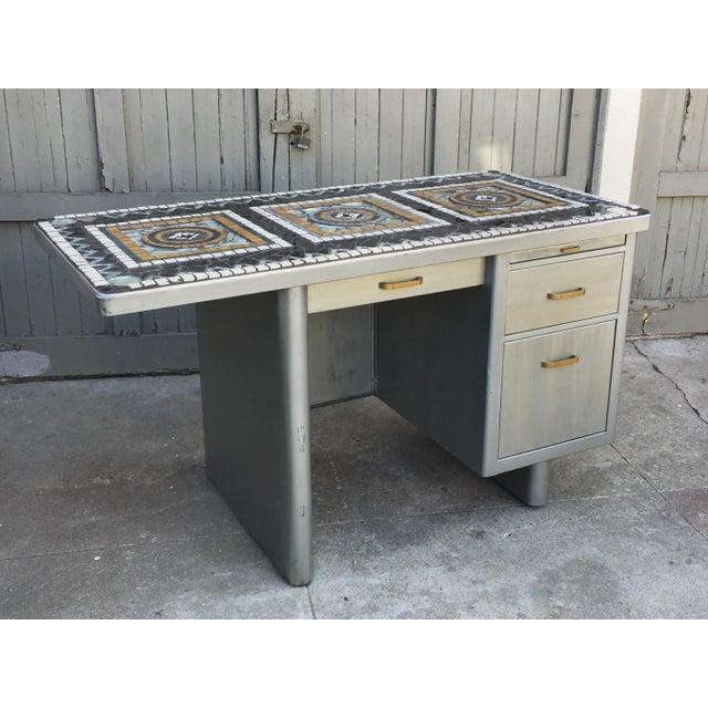 1960s 1960's Vintage 3 Drawer Mosaic Top Steel Tanker Desk For Sale - Image 5 of 5