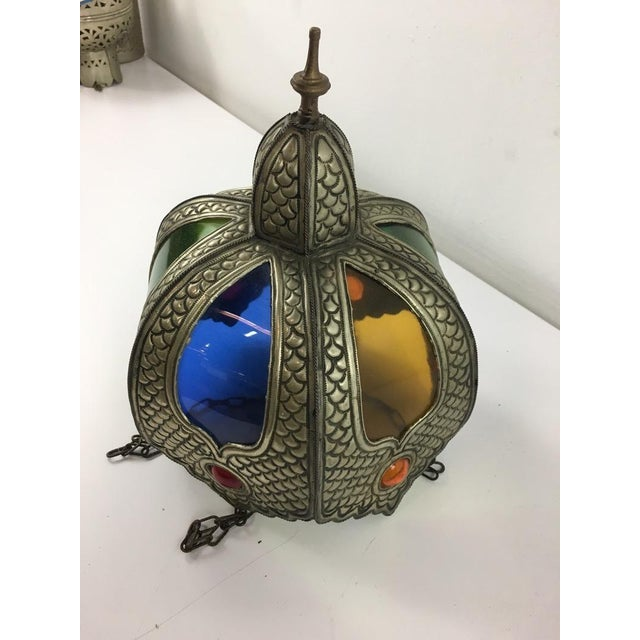 Moroccan Style Glass and Metal Shade For Sale In San Francisco - Image 6 of 7