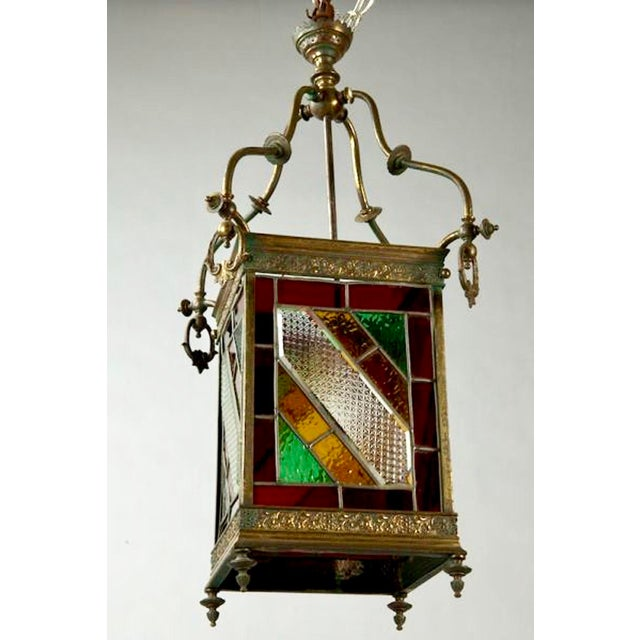 Victorian Brass and Stained Leaded Glass Hanging Hall Lantern c.1890 For Sale - Image 4 of 6
