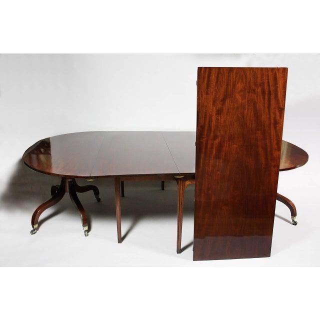Hollywood Regency Unusual Irish Regency Two Pedestal Dining Table For Sale - Image 3 of 8