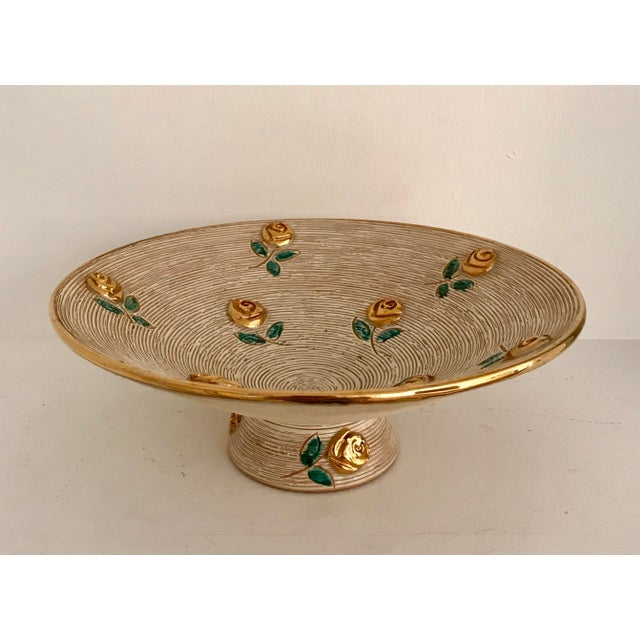 1980s Vintage Art Deco Gold Flowers Bowl For Sale In Minneapolis - Image 6 of 6