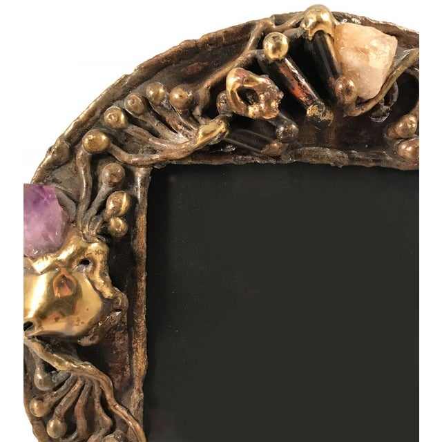 1970s Brutalist Brass Artisan-Made Picture Frame For Sale - Image 4 of 8