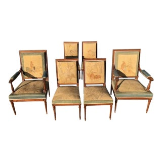 Aubusson Tapestry & Mahogany Bird Motife Dining Chairs - Set of 6 For Sale