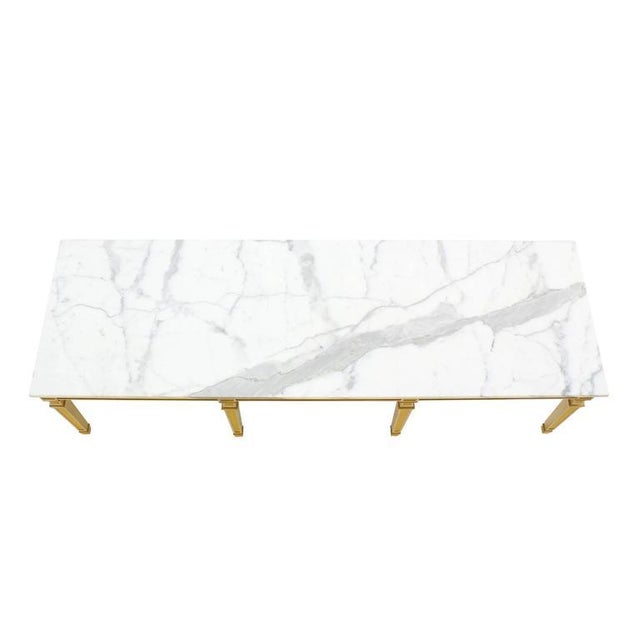 Unusual eight legged construction design decorative marble-top coffee table. Decorative two tone painted base.