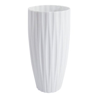 XL Modernist Fluted White Bisque Vase For Sale