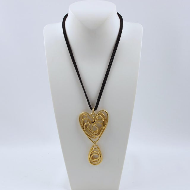 Contemporary Balenciaga Paris Pendant Necklace Gilt Metal Wired Dangling Spiral For Sale - Image 3 of 8