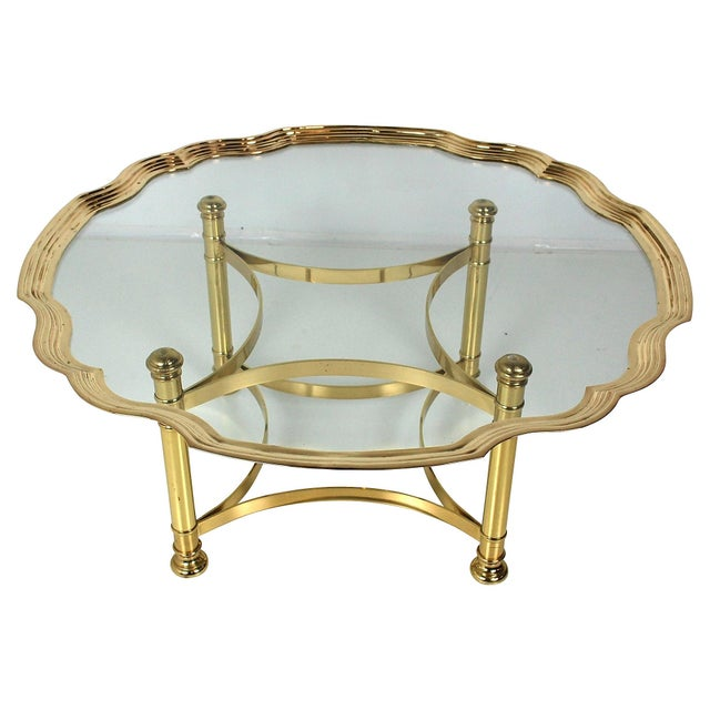 Scalloped Brass & Glass Cocktail Table - Image 4 of 8