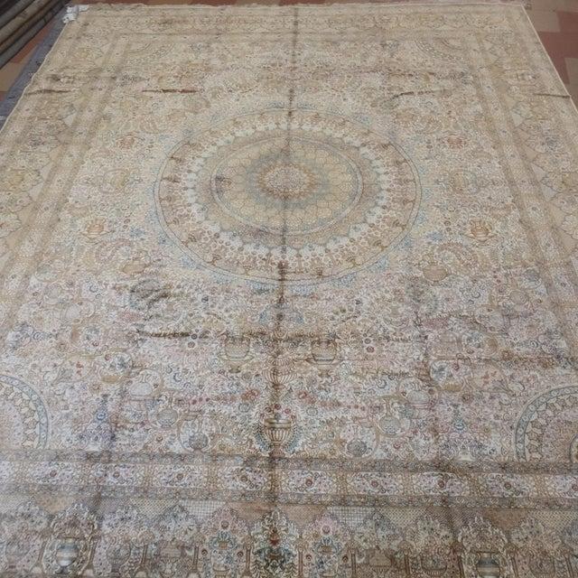 Tan Leon Banilivi Pure Silk Tabriz Carpet - 8' x 10' For Sale - Image 8 of 10