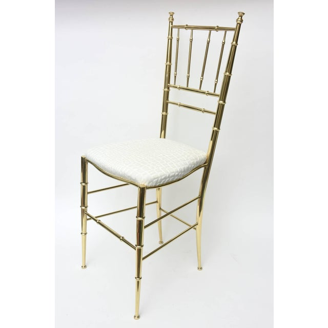 Chippendale Vintage Mid Century Italian Chiavari Faux Bamboo Brass and Upholstered Side Chair For Sale - Image 3 of 11