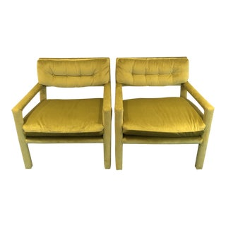1970s Vintage Milo Baughman for Thayer Coggin Parsons Club Chairs- A Pair For Sale