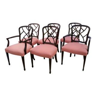 1990s Vintage Kindel Hepplewhite Ribbon Dining Chairs - Set of 6 For Sale