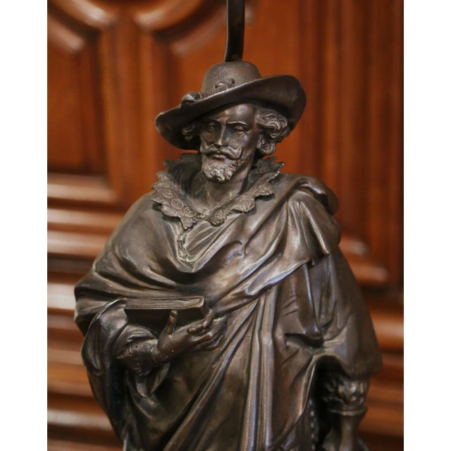19th Century French Spelter Renaissance Figures Made Into Table Lamps - a Pair For Sale - Image 9 of 13