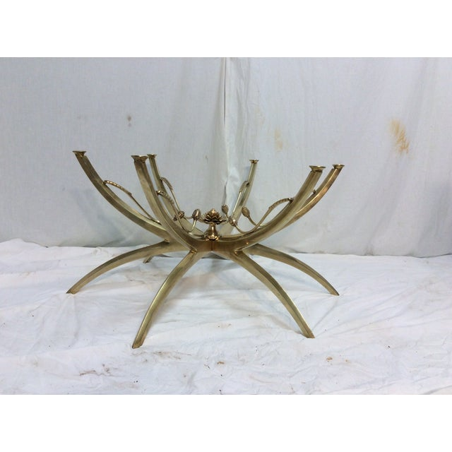 Midcentury Brass Spider Leg Lotus Coffee Table - Image 7 of 7