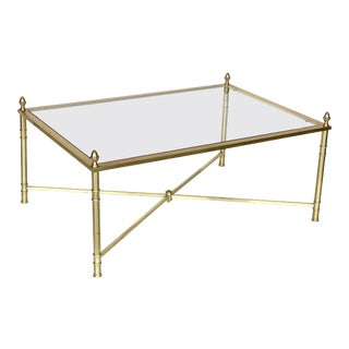 Large English Rectangular Low Coffee or Cocktail Table of Brass and Glass For Sale