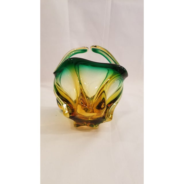 Mid 20th Century Vintage Mid Century Murano Mouth Blown Glass Basket, Made in Italy, Condition, Green and Gold For Sale - Image 5 of 11