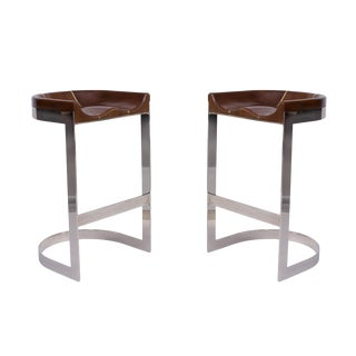 Warren Bacon Oak & Mirror Polished Chrome Barstools - a Pair For Sale