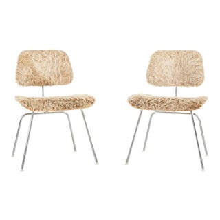 Eames for Herman Miller Dcm Chairs in Longhair Brazilian Cowhide For Sale