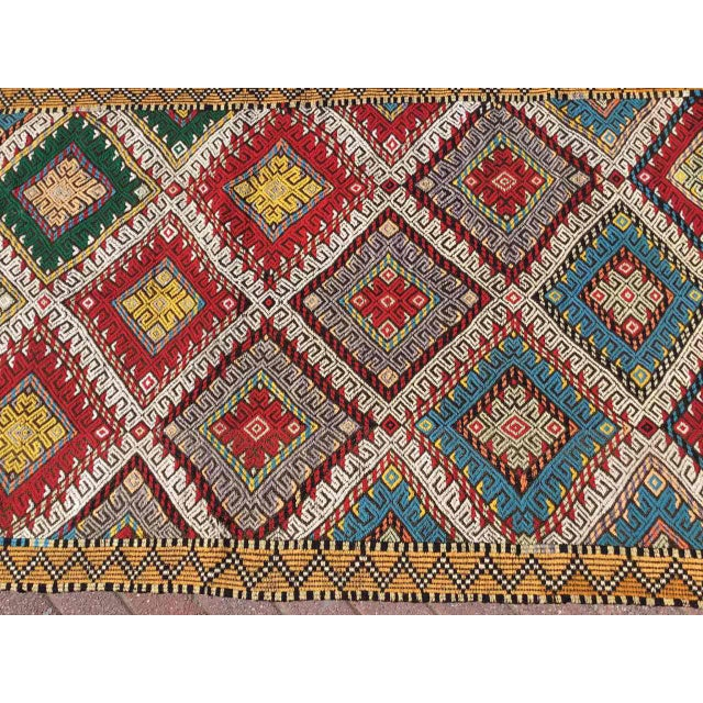 Red Vintage Turkish Embroidered Runner For Sale - Image 8 of 11