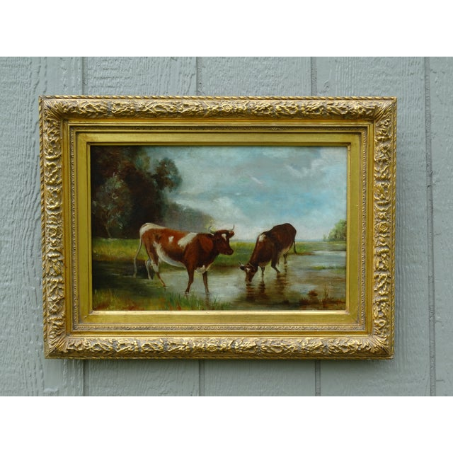 Blue Antique Continental School Cattle Oil Painting For Sale - Image 8 of 9