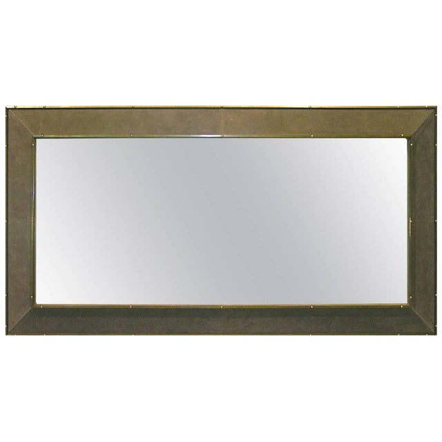 1970s Italian floor mirror by Smania covered in an original warm grey suede customized for the previous owner with...