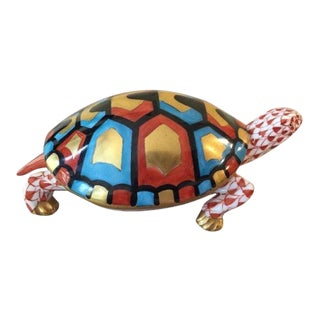 Big Herend Rust Fishnet Turtle Figurine For Sale