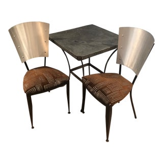 Modern Metal Bistro Set - Table and a Pair of Chairs