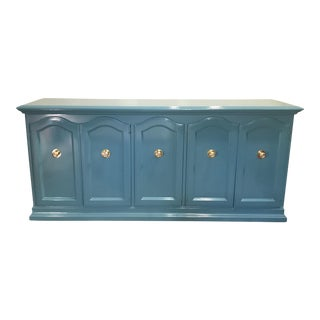 Teal Lacquered Credenza For Sale